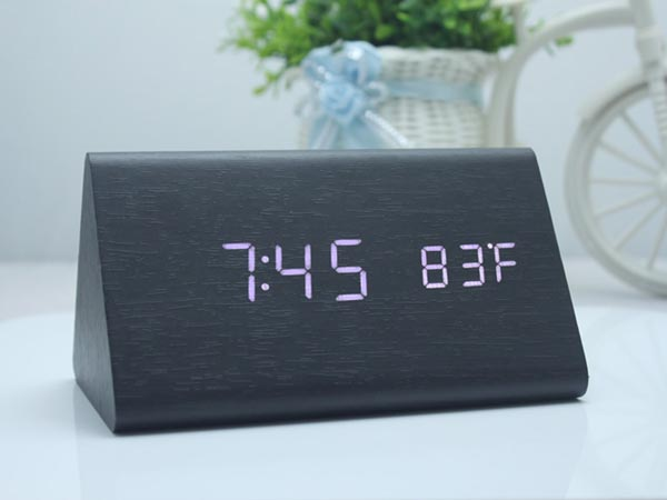 Triangle Desktop Wood Grain LED Alarm Digital Clock with Thermometer