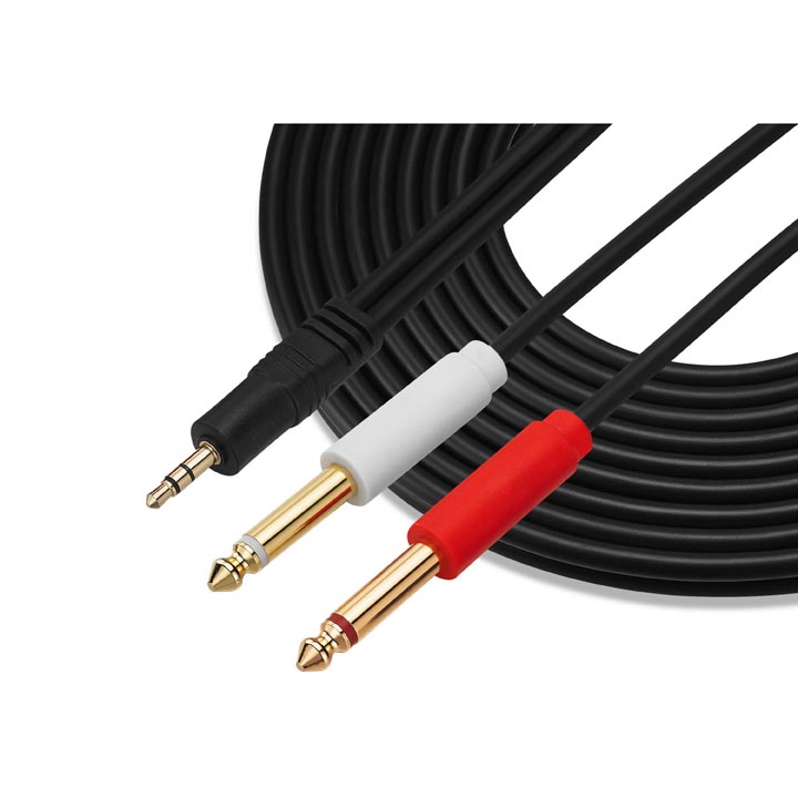 "3.5mm 1/8"" Aux Stereo Audio (TRS) Male to Dual 1/4 Inch 6.35mm Mono TS Male Y Splitter Cable"