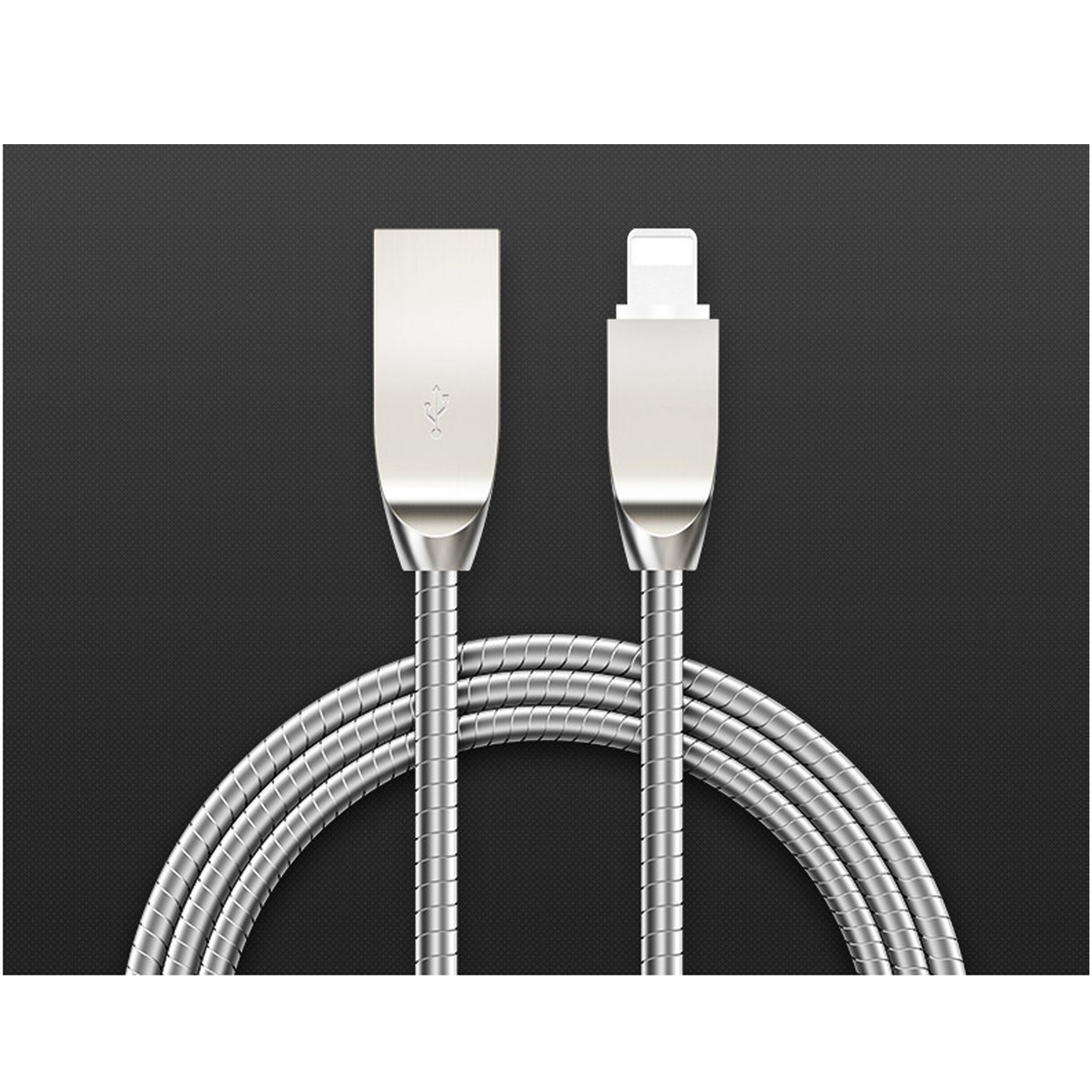 Low Profile Tangle-Free Aluminum Sleeve Lightning Cable for iPhone / iPad / iPod