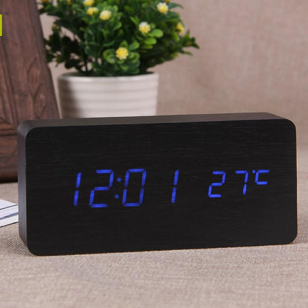 Wood Grain LED Alarm Digital Clock with Thermometer (Rectangle / Timer / Temperature)