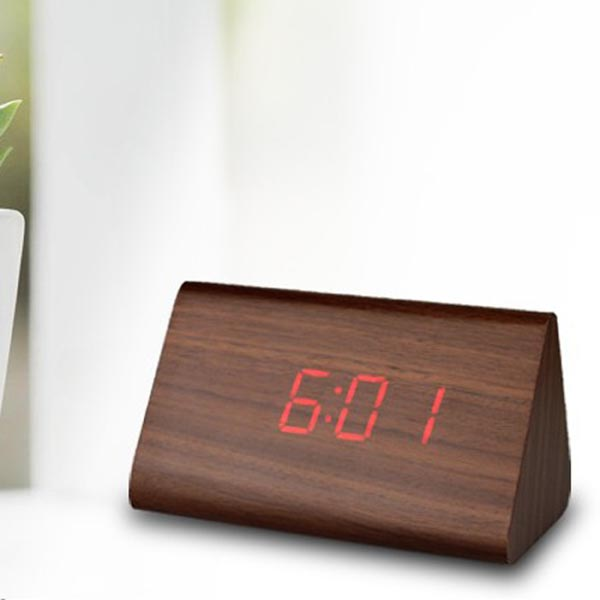 Mini Wood Grain LED Alarm Digital Clock with Thermometer (Triangle / Timer / Temperature)
