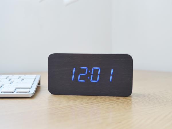 Wood Grain Desktop LED Alarm Clock (Rectangle with Timer)