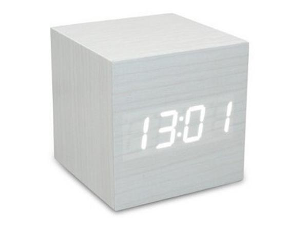 Cube Wood Desktop Grain LED Alarm Digital Clock with Thermometer